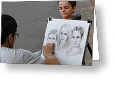 The Artist At Bethesda Fountain Greeting Card