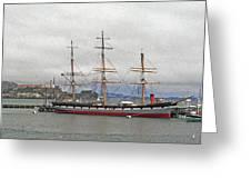 The Balclutha Ship And Alcatraz Island Greeting Card