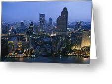 The Bangkok Skyline At Dusk Greeting Card