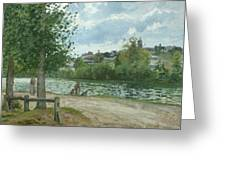 The Banks Of The Oise At Pontoise Greeting Card