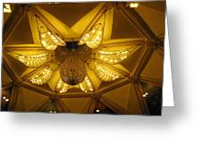 The Beautifully Lit Chandelier On The Ceiling Of The Iskcon Temple In Delhi Greeting Card