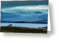 The Bench And The Glacier Greeting Card