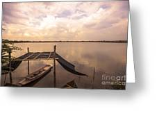 The Blue Sky And A Boat Greeting Card