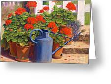 The Blue Watering Can Greeting Card by Anthony Rule