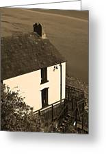 The Boathouse At Laugharne Sepia Greeting Card