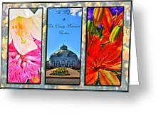 The Buffalo And Erie County Botanical Gardens Triptych Series With Text Greeting Card