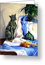 The Cat And The Cloth Greeting Card