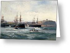 The Channel Fleet Off Scarborough Greeting Card
