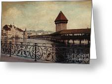 The Chapel Bridge In Lucerne Switzerland Greeting Card