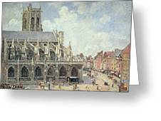 The Church Of Saint Jacques In Dieppe Greeting Card by Camille Pissarro