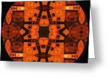 The Color Orange Mandala Abstract Greeting Card
