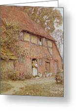 The Cottage With Beehives Greeting Card