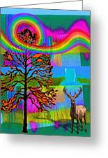 The Earth Rejoices Series Deer And Basswood Greeting Card by Robin Jensen