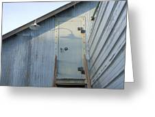 The Entry To A Metal Shed On A Sawmill Greeting Card