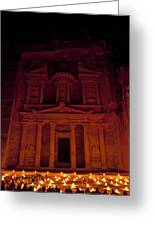 The Famous Treasury Lit Up At Night Greeting Card