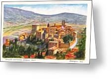 The Fortified Walled Village Of Gualdo Cattaneo Umbria Italy Greeting Card