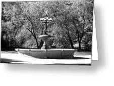 The Fountain In Black And White Greeting Card