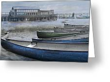 The Green Canoe Greeting Card by Debra and Dave Vanderlaan