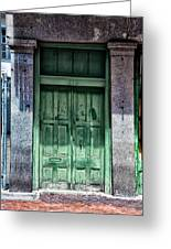 The Green Door In The French Quarter Greeting Card