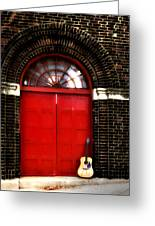 The Guitar And The Red Door Greeting Card