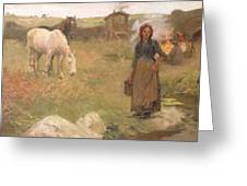 The Gypsy Camp Greeting Card by Harold Harvey