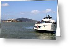The Harbor King Ferry Boat On The San Francisco Bay With Alcatraz Island In The Distance . 7d14355 Greeting Card