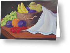The Healthy Fruit Bowl Greeting Card by Janna Columbus