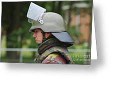 The Helmet And Visor Used Greeting Card by Luc De Jaeger