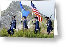 The Honor Guard Posts The Colors Greeting Card