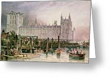 The Houses Of Parliament In Course Of Erection Greeting Card