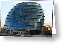 The Imposing Glass Greater London Mayoral Building On The Banks Of The Thames Greeting Card