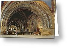 The Interior Of The Lower Basilica Of St. Francis Of Assisi Greeting Card by Thomas Hartley Cromek