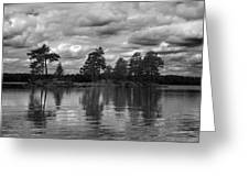 The Island In The Midlle In Bw Greeting Card