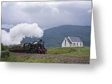 The Jacobite Express At Lochailort Church Greeting Card