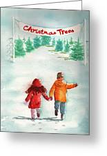The Joy Of Selecting A Christmas Tree Greeting Card by Sharon Mick