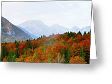 The Julian Alps In Autumn At Lake Bohinj Greeting Card