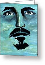 Blue Man In The Sky Surreal Portrait Unique Contemporary Figurative Fine Art Surrealism Decor Print Greeting Card