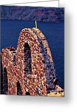 The Last Wall Standing Santorini Greece Greeting Card