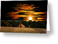 The Late Sam's Rd. Barn In The Moonlight Greeting Card
