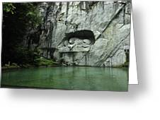 The Lion Monument In Lucerne Honouring The Swiss Soldiers Killed During French Revolution Greeting Card