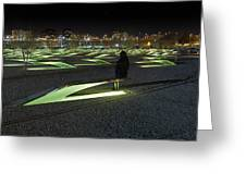 The Lonely Tourist At Pentagon Memorial Greeting Card by Metro DC Photography