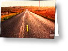 The Long Road Home . Painterly Style . Wide Size Greeting Card