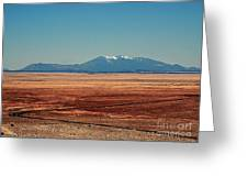 The Long Road To The Meteor Crater In Az Greeting Card