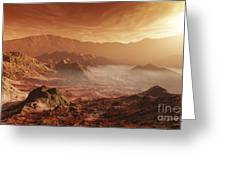 The Martian Sun Sets Over The High Greeting Card