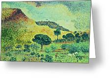The Maures Mountains Greeting Card by Henri-Edmond Cross