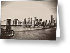 The New York City Skyline And The Brooklyn Bridge Greeting Card by Vivienne Gucwa