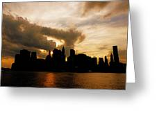 The New York City Skyline At Sunset Greeting Card