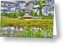 The Old Barn By The Pond Greeting Card