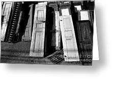 The Old Doors Bw Greeting Card