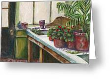 The Old Garden Shed Greeting Card by Judith Whittaker